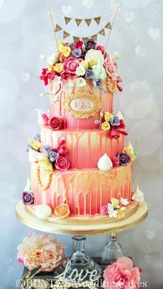Wedding 'drip' Cake by Bunty's Wedding Cakes - http://cakesdecor.com/cakes/243996-wedding-drip-cake