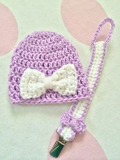Baby Girl Hat and Pacifier Clip by BCSweeties on Etsy