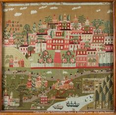 Needlework: Townscape produced in the 1850s by Maria Schultz, a Schwenkfelder. These townscape images were produced with wool and stitched onto linen. The townscape images are unique to the Schwenkfelder Library and Heritage Center collection