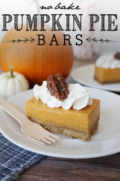 No-Bake, Pumpkin Pie Bars! Taste and texture so close to pumpkin pie, you'll never know the difference!!