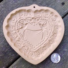 BROWN BAG COOKIE ART ceramic VALENTINE HEART MOLD stamp press 1985 Hill Design