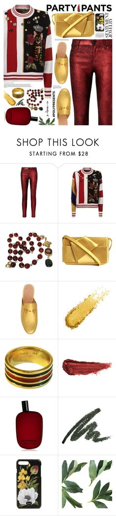 """PolyPresents: Fancy Pants"" by tinkabella222 ❤ liked on Polyvore featuring RtA, Dolce&Gabbana, Chanel, Gucci, By Terry, Comme des Garçons, statementjewelry and polyPresents"