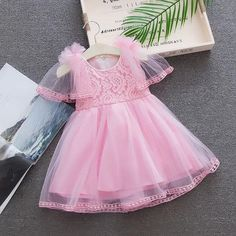 e60a3c2d8065 Baby Girls Dress Summer Lace Pattern Flowers