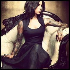 Kat Von D - love the shoulders, detail in the fabric