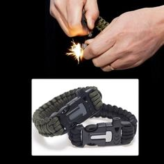 This para-cord bracelet isn't your average bracelet. The buckle is designed to double as a survival whistle and a fire starter. It is made with 12 feet of para-cord that can hold up to 300 pounds. It
