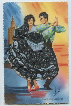 Embroidered Silk Fabrics Spain Flamenco Dance Ethnic Dress 1960s Postcard
