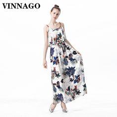 VINNAGO Casual Women Dress Summer Sundress 2017 Tunic Printed Sleeveless  Ruffled Maxi Dress Long Beach Dress Boho vestidos mujer-in Dresses from  Women s ... 11c34543e6e5