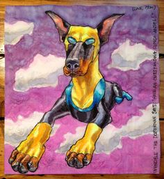 Artist Nina Levy draws superpowered canines on her sons lunch napkins daily.