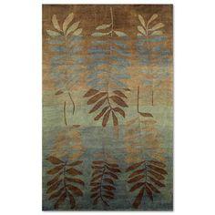 Karela Fern Wool Area Rug in Blue and Brown