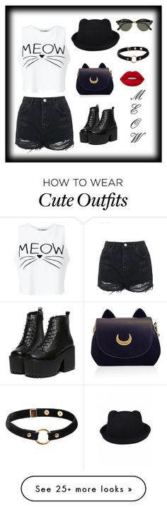 CUTE KITTY OUTFIT by fashioncenter on Polyvore featuring Miss Selfridge, Topshop, Ray-Ban, Nika and Lime Crime