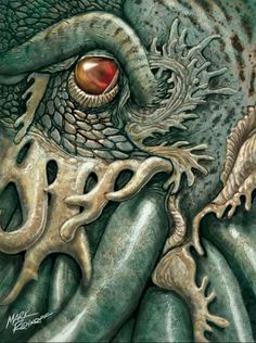 """It's well known that the great Cthulhu has a particular bond with artists of all sorts. Lovecraft's """"The Call of Cthulhu"""" it's docu. Acid Trip Art, Cthulhu Tattoo, Call Of Cthulhu Rpg, Hp Lovecraft, Lovecraft Cthulhu, Horror Fiction, Pulp Fiction, Lovecraftian Horror, Eldritch Horror"""