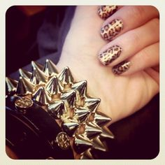 Tory Burch, Spiked Bangle, AND Leopard Nails?! Sign me up!