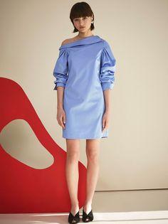 6220092170 Nina Off Shoulder Blue Cotton Shirt Dress by KITRI Studio Cotton Shirt Dress