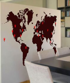 Vinyl Wall Decal Sticker World Map with Pin Drops #873