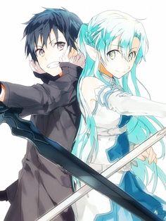 Sword Art Online, Kirito + Asuna (undine), by 煮干 (pixiv:83179)