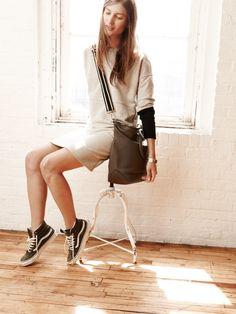 Madewell jumpstart dress worn with the Berliner oversized satchel + Vans® sk8-hi high-tops.