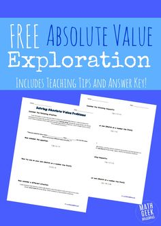 One algebra concept that many students struggle with is solving absolute value problems. This absolute value exploration will help kids make sense of them!