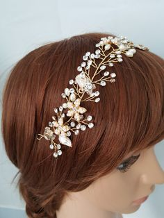 HURRY-SALE 15% OFF Wedding Hair Vine Gold Bridal Head by ChicBlue