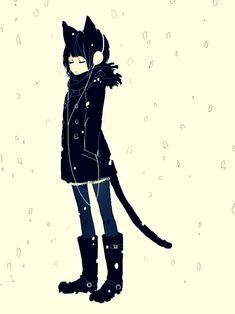 Cat girl in blizzard.