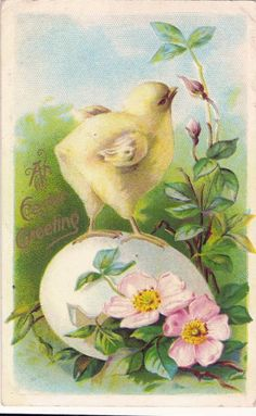 Vintage Easter Postcard Embossed Chick Standing on Egg Cute images bunnies Easter Art, Easter Crafts, Vintage Easter, Vintage Holiday, Vintage Greeting Cards, Vintage Postcards, Easter Parade, Easter Holidays, Mellow Yellow