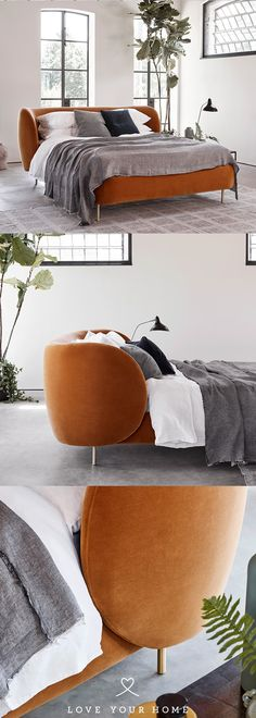 Love Your Home - The Livingetc Collection Hepworth Bed upholstered in Studio Rich Stain Resistant Velvet 'Toffee'. Design 3d, Design Ideas, Design Color, Interior Decorating, Interior Design, Interior Ideas, Love Your Home, Luxury Furniture, Pillows