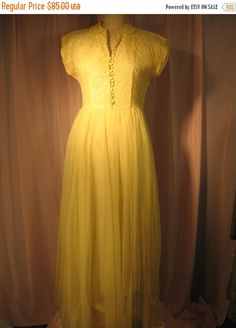 On Sale Lemon Yellow Floor Length Prom Dress large Pretty Prom Dresses, Formal Dresses, Chantilly Lace, Lemon Yellow, Evening Party, Covered Buttons, One Pic, Bodice, Kimono