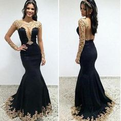 Long Sleeves Mermaid Gold Lace Black Evening Gowns Prom Dresses,Long Prom Dresses,Backless Prom Dresses,Deep V Neck Evening Dress LD049