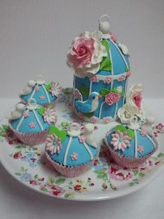 Vintage cake and cupcakes cage