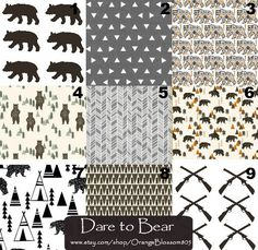 Modern bear crib bedding. Rustic woodland changing pad cover, crib sheet, or crib skirt etc. Check out the Etsy shop for more! Orange Blossom Special