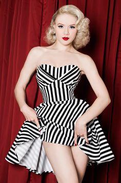 Black & White Striped Halter Pin Up Dress. Night Circus style!