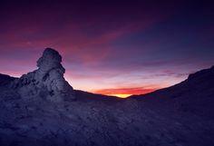 Зима, закат, снег, звезда