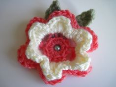 Crochet Flower Appliques - Coral and Off White - With Sage Beads (Set of 3). $2.70, via Etsy.