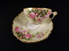 French Limoges Elite Hand Painted Cup & Saucer Pink Yellow ROSES Good Gold #LimogesElite
