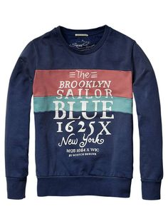 Collection - Colour block crew neck sweater with artwork on the chest - Sweaters - Official Scotch & Soda Online Fashion & Apparel Shops - color combo for a pieced polo