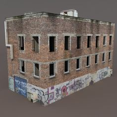 Scale Model Architecture, City Skylines Game, 3d Building Models, Maya Modeling, Derelict Buildings, Low Poly 3d Models, Old Factory, Model Train Layouts, Sims House