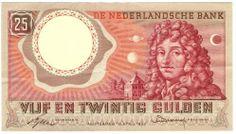 25 gulden, 1950 - 1970, Christiaan Huygens, wis-, natuur- en sterrenkundige, uitvinder.