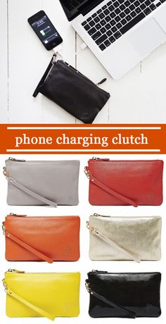 Stylish phone charging purse. Can charge your phone 2x while on the go! http://www.thegrommet.com/handbag-butler-mighty-purse