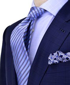 Ermenegildo Zegna Navy with Black Shadow Plaid Suit Apparel Men's Sharp Dressed Man, Well Dressed Men, Suit Fashion, Mens Fashion, Plaid Suit, Elegant Man, Suit And Tie, Gentleman Style, Wedding Suits