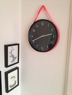 IKEA hack BONDIS clock with a colored leatherstrap