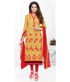 Auspicious Beige And Red Cotton Salwar Suit.