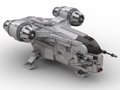 """The landing gear don't retract, but are easily removed to allow for """"Swooshing"""". Legos, Nave Lego, Lego Mandalorian, Big Lego, Lego Creator Sets, Star Wars Spaceships, Lego Ship, Lego Spaceship, Star Wars Facts"""