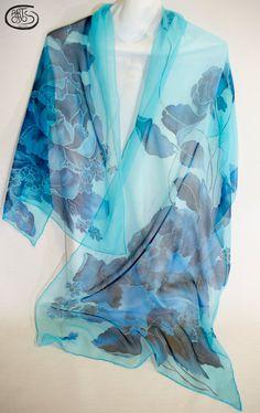 silk scarf hand painted pañuelo de seda pintado a mano foulard de soie peint a main