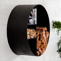 The first creation from the minds of Oblica& founders, the Big O takes its name from ours; the first letter in Oblica. Acting as a storage solution for mo Living Room Decor Fireplace, Living Room Decor Cozy, Modern Fireplace, Wooden Diy, Wooden Signs, Fire Pit Poker, Range Buche, Fire Surround, Fireplace Accessories