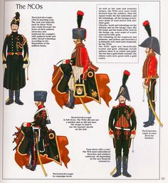 French; Imperial Guard, Chasseurs a Cheval, Marechal des Logis Chef. L to R In Morning Coat,in Campaign Dress, in Full Dress, Tenue de Ville And Tenue de Ville for Sundays