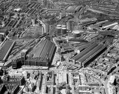 St Pancras & Kings Cross from the air, June 1957 Camden London, Old London, London Pictures, London Photos, Station To Station, London History, Vintage London, London Photography, Historical Pictures