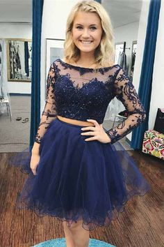 91c916049bd Two Piece Bateau Long Sleeves Navy Blue Beaded Prom Dress with Lace