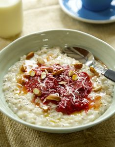 Coconut Chia Creamed Rice with Stewed Rhubarb By Nadia Lim