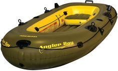 Airhead Angler Bay Inflatable Boat 4 Person - For a fun-packed fishing trip with friends and family, choose the Airhead Angler Bay Inflatable Boat, 4 Person. This boat is designed to hold up to 4 people, and is constructed of heavy-duty 30-gauge vinyl with electronically welded seams. There are 2 rod holders, multiple molded drink holders. 4 drain plugs, a battery storage bag and a ditty bag. The boat is lightweight, portable and ideal for lakes and slow-moving streams. Equipped with…
