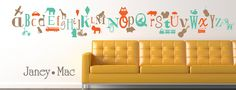 Kids Alphabet Wall Decal A to Z Letters - Owl Lion Train Fire Truck Car Airplane - Boy Vinyl Wall Art Room Decor Sticker - CL101.