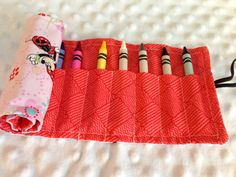 Crayon Roll Up by OhhSewSweetByJess on Etsy, $6.00